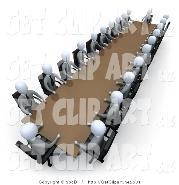 3d Clip Art of Two Rows of Grey People Holding a Meeting Around a Large Rectangular Conference Table in an Office