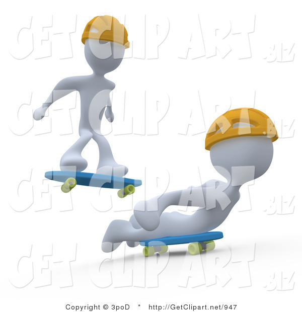 3d Clip Art of Two White Figures Doing Tricks While Skateboarding and Wearing Yellow Helmets
