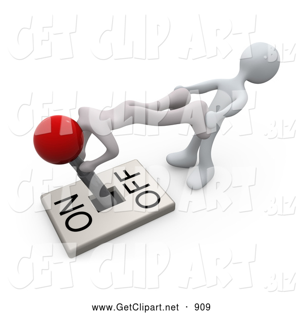 3d Clip Art of Two White People Trying to Turn a Lever Switch Handle to the off Position