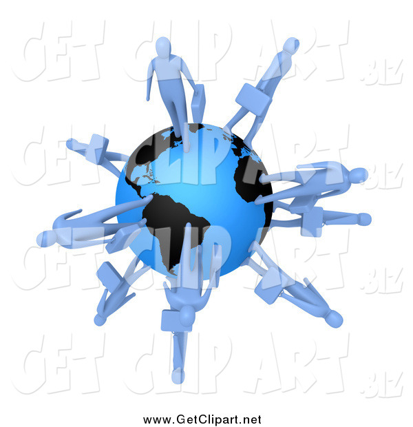 Clip Art of 3d Blue Business People Walking on the Earth