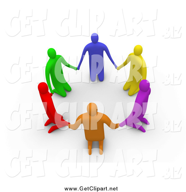 Clip Art of 3d Colorful Kneeling People in a Circle