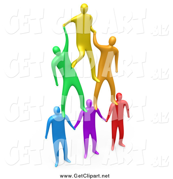Clip Art of 3d Colorful Men Making a Pyramid