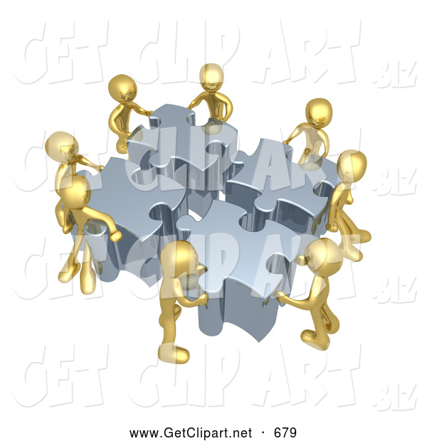Clip Art of 3d Gold People Assembling a Puzzle