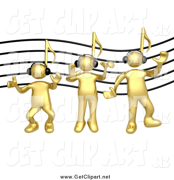 Clip Art of 3d Music Note Headed Gold Men Wearing Headphones