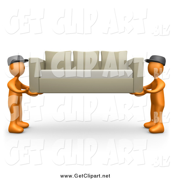 Clip Art of 3d Orange Male Guys Lifting and Carrying Away a Tan Couch While Moving or Delivering