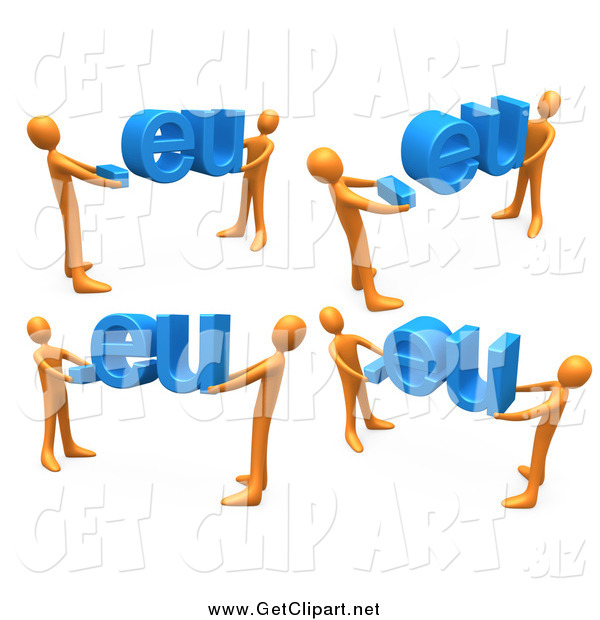 Clip Art of 3d Orange Men Carrying Dot Eu Domain Extensions, on a White Background
