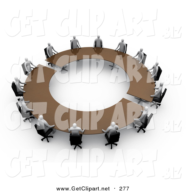 Clip Art of 3d Professional People Surrounding a Circular Meeting Table