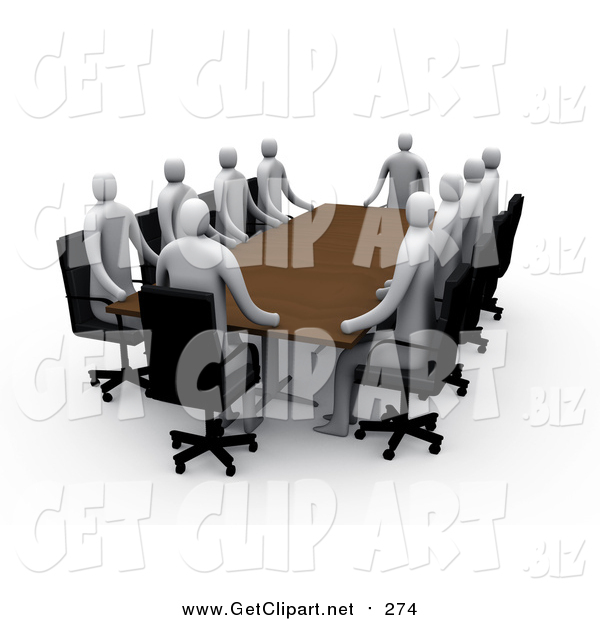 Clip Art of 3d Professional People Surrounding a Rectangular Meeting Table