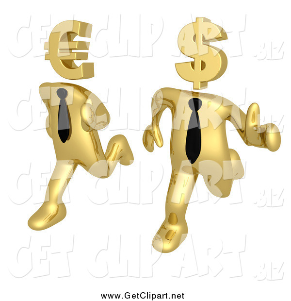 Clip Art of 3d Racing Gold Business Men Running with Euro and Dollar Heads