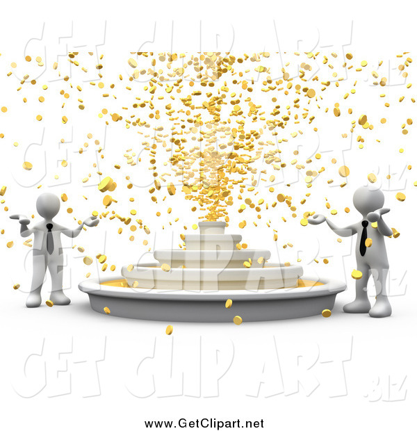 Clip Art Of 3d White Business Men Around A Fountain