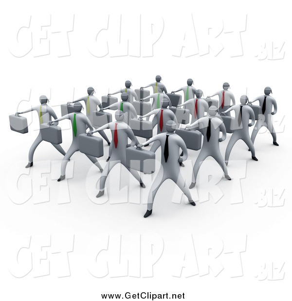 Clip Art of 3d White Business Men Doing Training in a Group