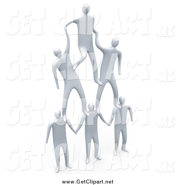 Clip Art of 3d White Men Forming a Pyramid Team