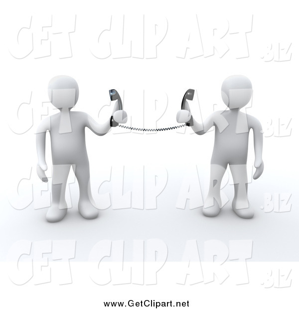Clip Art of 3d White People Holding Telephone Receivers Attached to the Same Cord