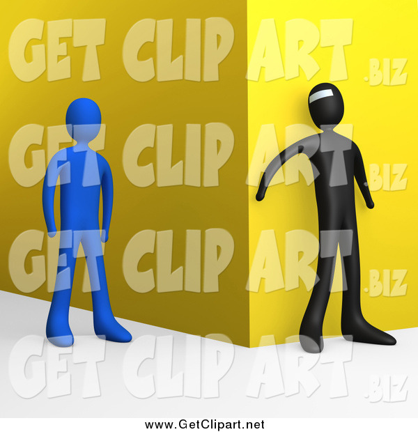 Clip Art of a 3d Bad Person Waiting Around a Corner to Attack an Approaching Blue Person