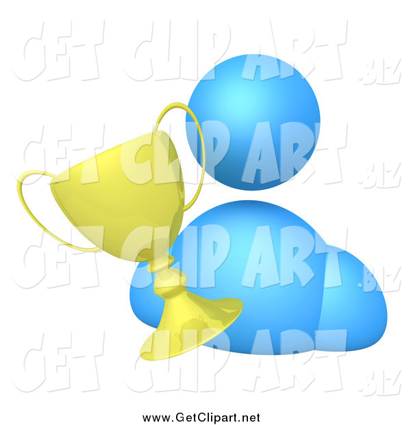 Clip Art of a 3d Blue Avatar Person with a Golden Trophy Cup