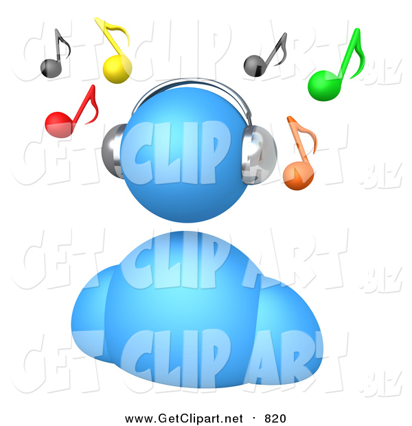 Clip Art of a 3d Blue Avatar Wearing Chrome Headphones and Listening to Music, with Colorful Notes Floating Above