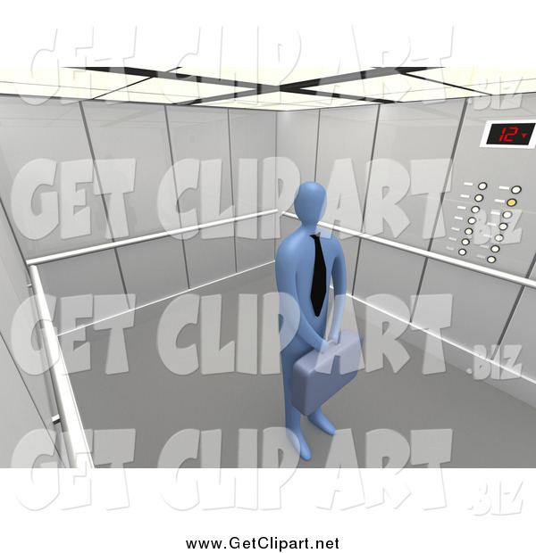 Clip Art of a 3d Blue Businessman in a Tie, Holding a Briefcase and Standing Patiently in an Elevator