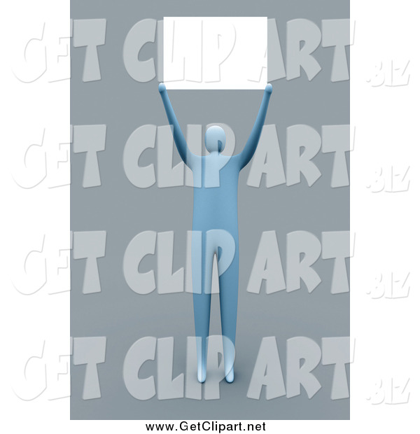 Clip Art of a 3d Blue Man Holding a Blank Sign over His Head