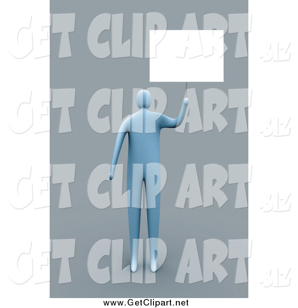Clip Art of a 3d Blue Man Holding up a Blank Sign, over Gray