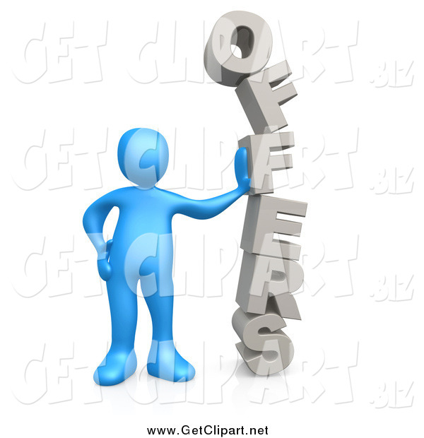 Clip Art of a 3d Blue Man Leaning Against the Stacked Word OFFERS