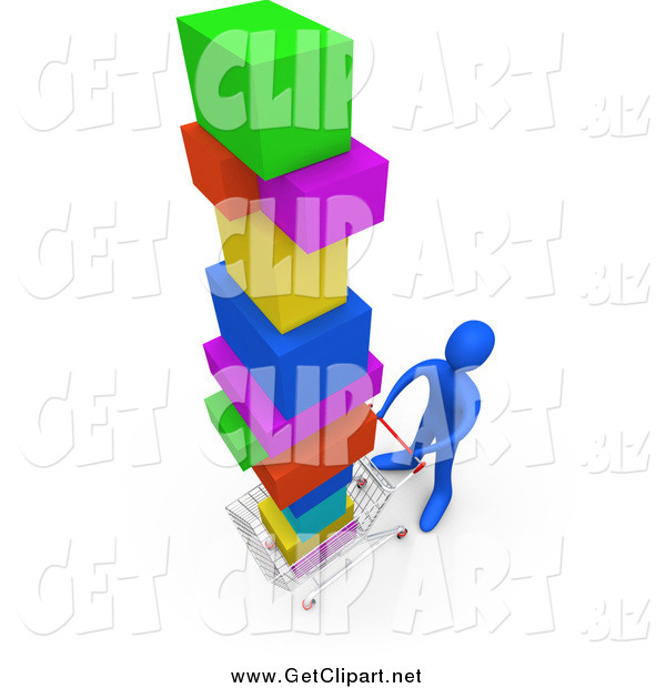 Clip Art of a 3d Blue Man Pushing a Cart in a Store, Purchasing a Lot of Items