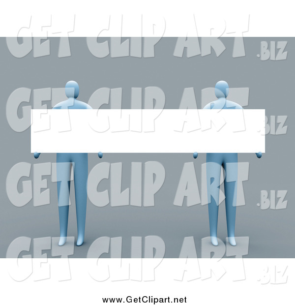 Clip Art of a 3d Blue People Holding a Long Blank Sign