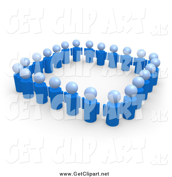 Clip Art of a 3d Blue People Standing Side by Side and Forming a Square