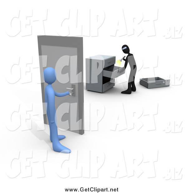 Clip Art of a 3d Blue Person About to Open a Door to a Room Where a Robber Is Going Through Drawers