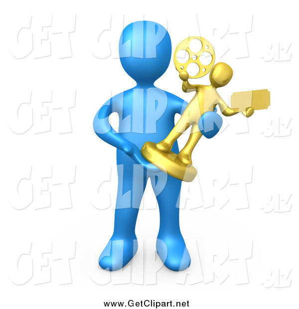 Clip Art of a 3d Blue Person Holding a Trophy