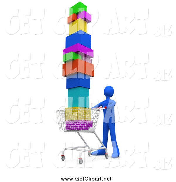 Clip Art of a 3d Blue Person Pushing a Shopping Cart Stacked High with Boxes