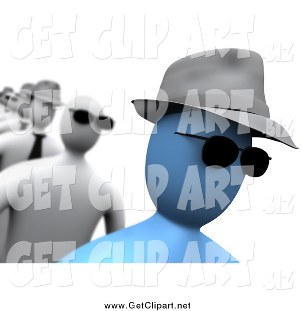 Clip Art of a 3d Blue Person Wearing Sunglasses and a Hat, Walking in a Line