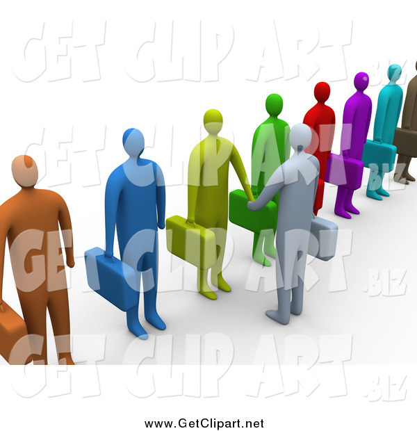 Clip Art of a 3d Boss Shaking Hands with Somone in a Diverse Line of Applicants