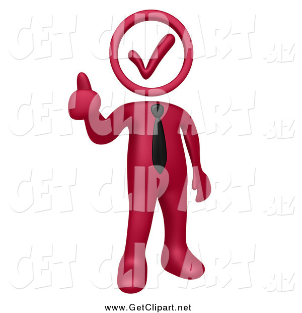 Clip Art of a 3d Burgundy Red Business Man with a Check Mark Head, Holding a Thumb up