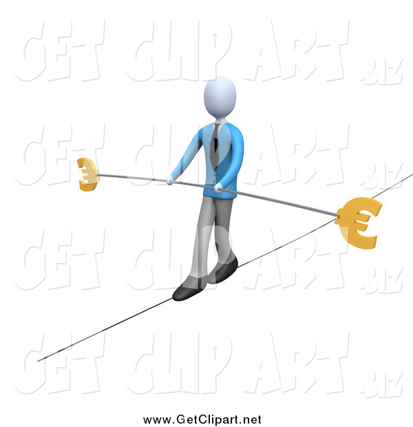 Clip Art of a 3d Business Man Walking on a Tightrope with a Bar and Two Euro Signs