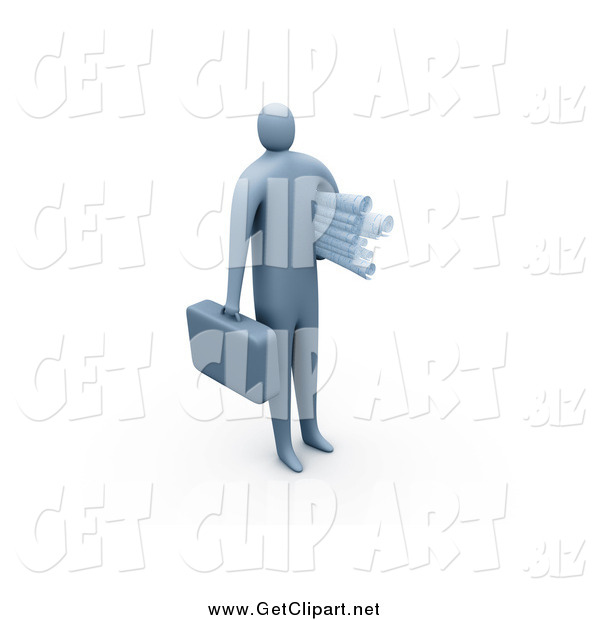Clip Art of a 3d Businessman Carrying a Briefcase and Blueprints
