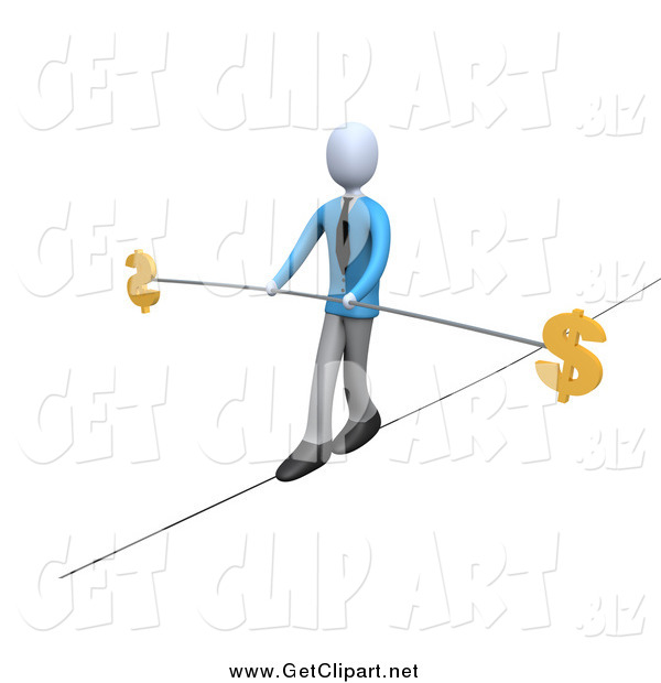 Clip Art of a 3d Businessman Walking and Balancing on a Tightrope with a Bar and Two Dollar Signs