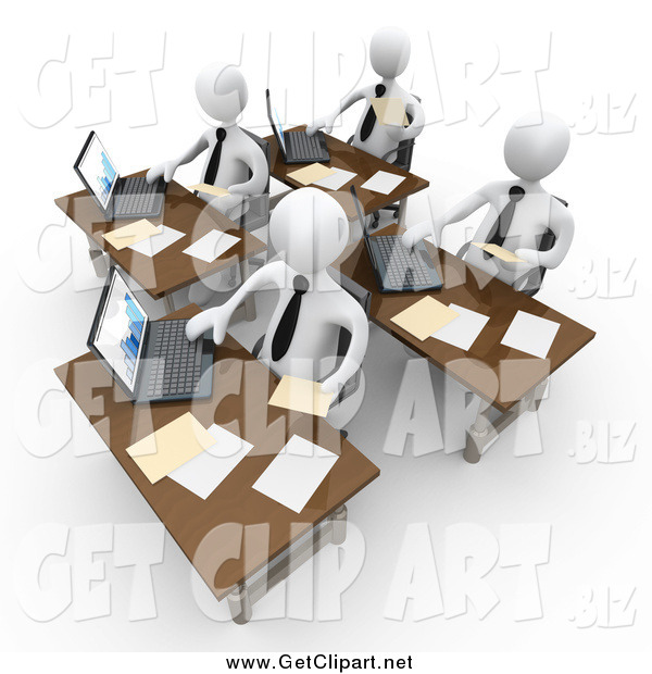 Clip Art of a 3d Busy Team of White People Compiling Financial Data