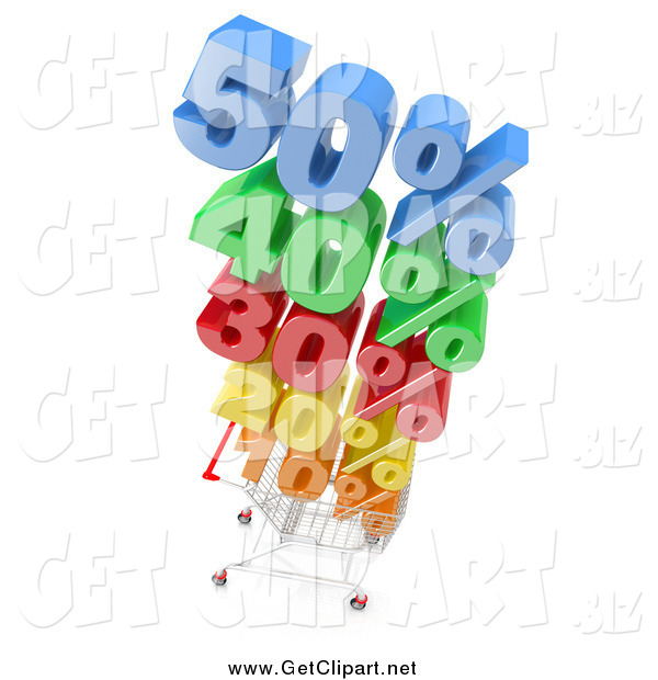 Clip Art of a 3d Chrome Shopping Cart Stacked High with Colorful Discounted Prices over a White Background