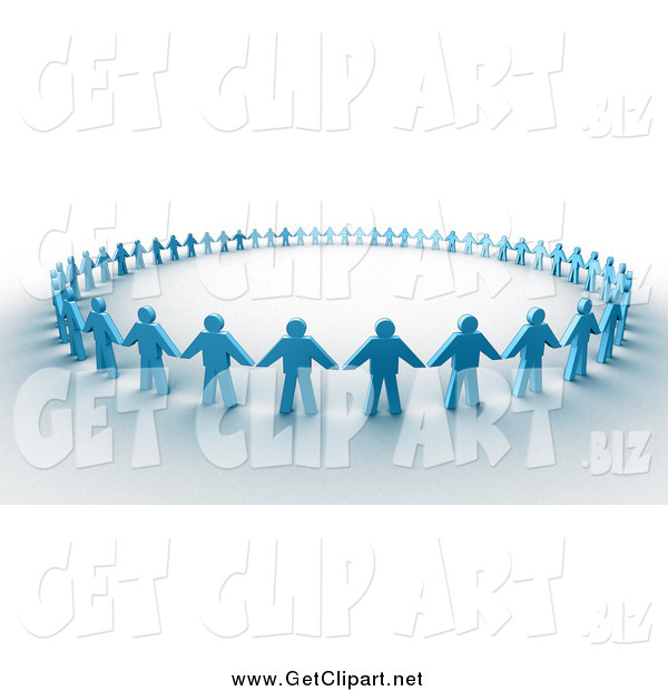 Clip Art of a 3d Circle of Blue Paper People Holding Hands