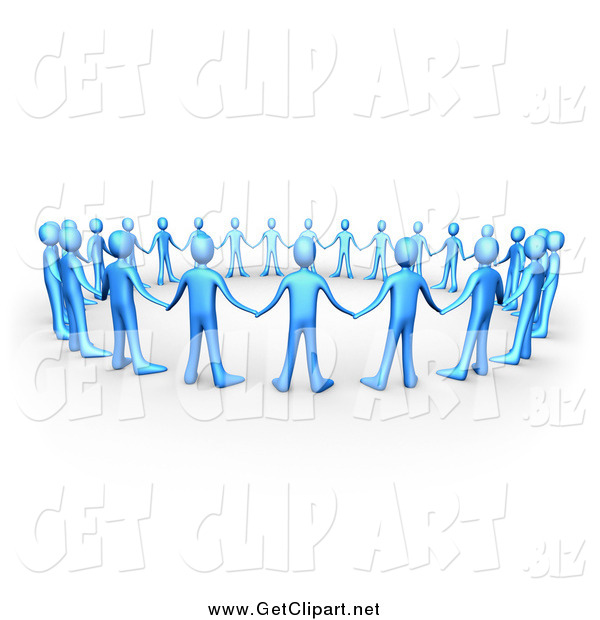 Clip Art of a 3d Circle of Blue People Holding Hands, Symbolizing Support and Teamwork