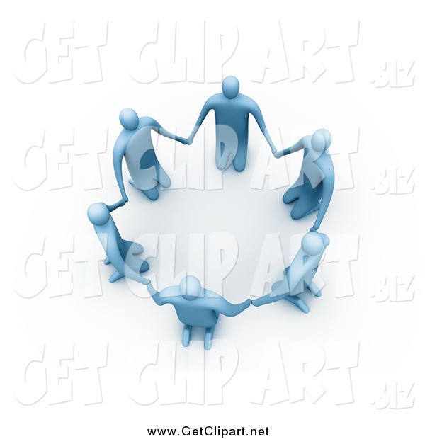 Clip Art of a 3d Circle of Blue People on Their Knees