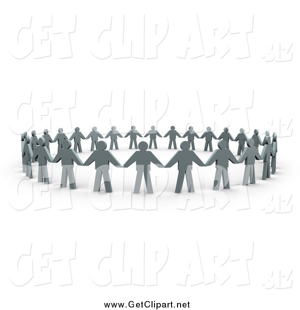 Clip Art of a 3d Circle of Flat Gray People and Their Shadows, Holding Hands and Providing Support