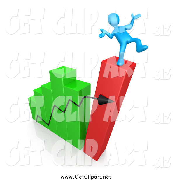 Clip Art of a 3d Collapsing Bar Graph Chart and Man Balancing on Top