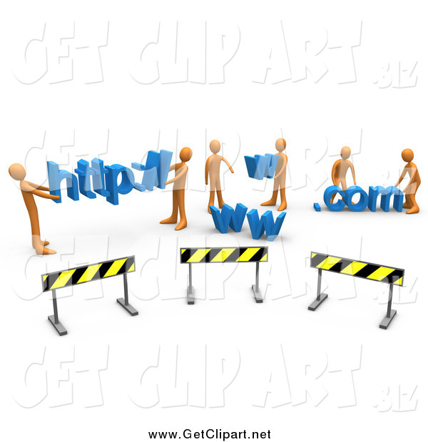 Clip Art of a 3d Construction Zone of Orange Men Carrying Http, Www, and Com Letters