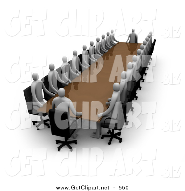 Clip Art of a 3d Coucil Consisting of Gray People, Conducting a Meeting at a Long Rectangular Table