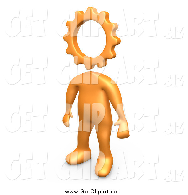 Clip Art of a 3d Creative Cog Headed Orange Person