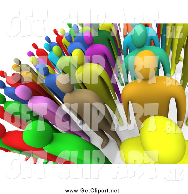 Clip Art of a 3d Crowd of Colorful People Standing and Facing Front