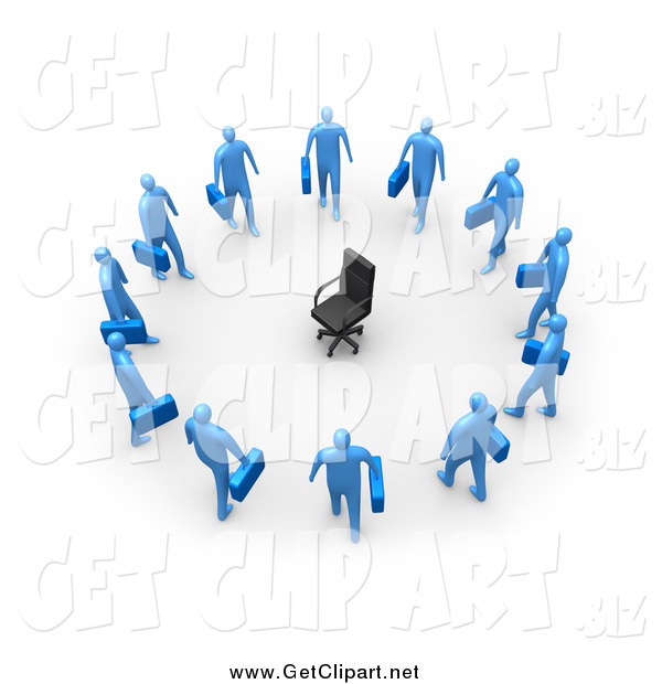 Clip Art of a 3d Empty Chair Encircled by Unemployed Blue Business Men