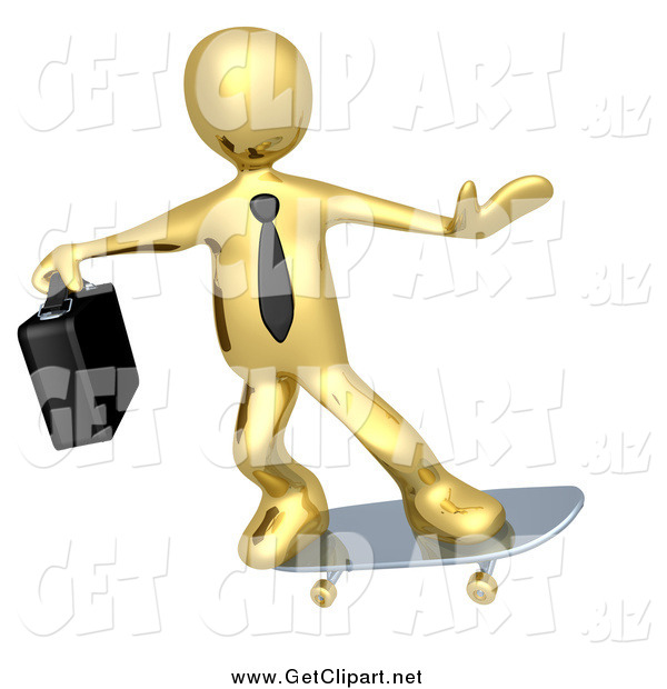 Clip Art of a 3d Gold Business Guy Skateboarding