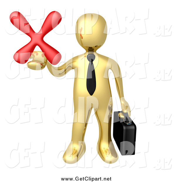 Clip Art of a 3d Gold Businessman Carrying a Briefcase and Holding out a Red X Mark in His Hand, Symbolizing Denial and Failure